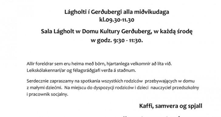Poranki dla rodziców – spotkania w Domu Kultury Gerðuberg